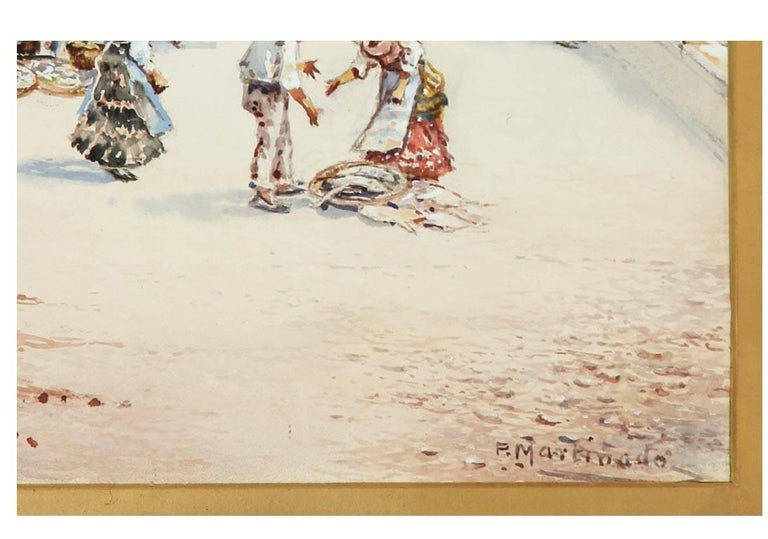 Pablo Martinado (1856-1937) - Signed & Framed Watercolour, Italian Market Scene - Victorian Art by Pablo Martinado