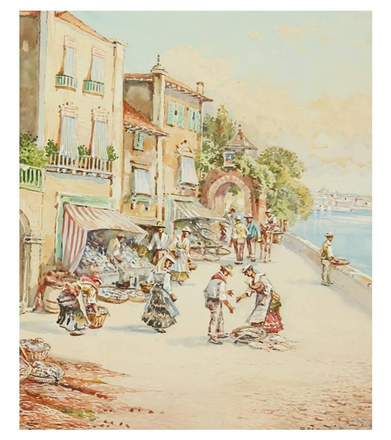 Pablo Martinado (1856-1937) - Signed & Framed Watercolour, Italian Market Scene - Beige Figurative Art by Pablo Martinado