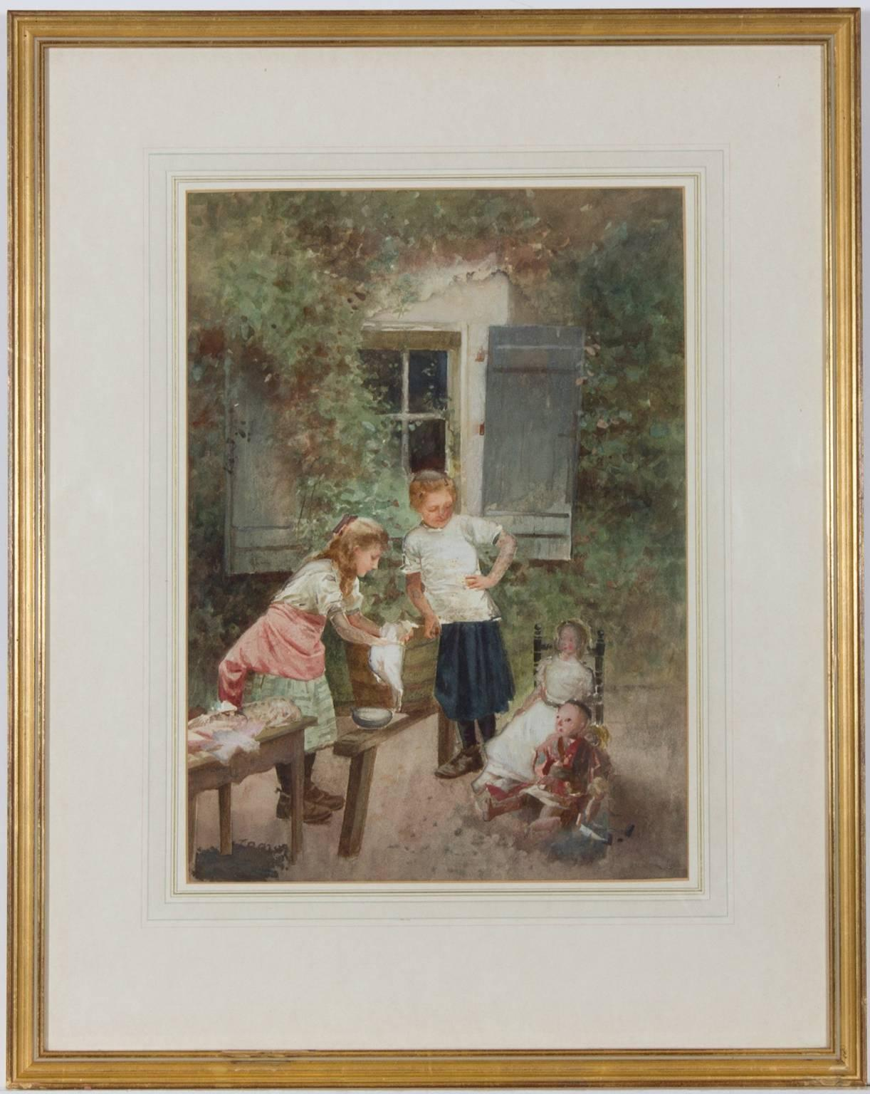 Continental School 19th Century Framed Watercolour - Children with Their Dolls