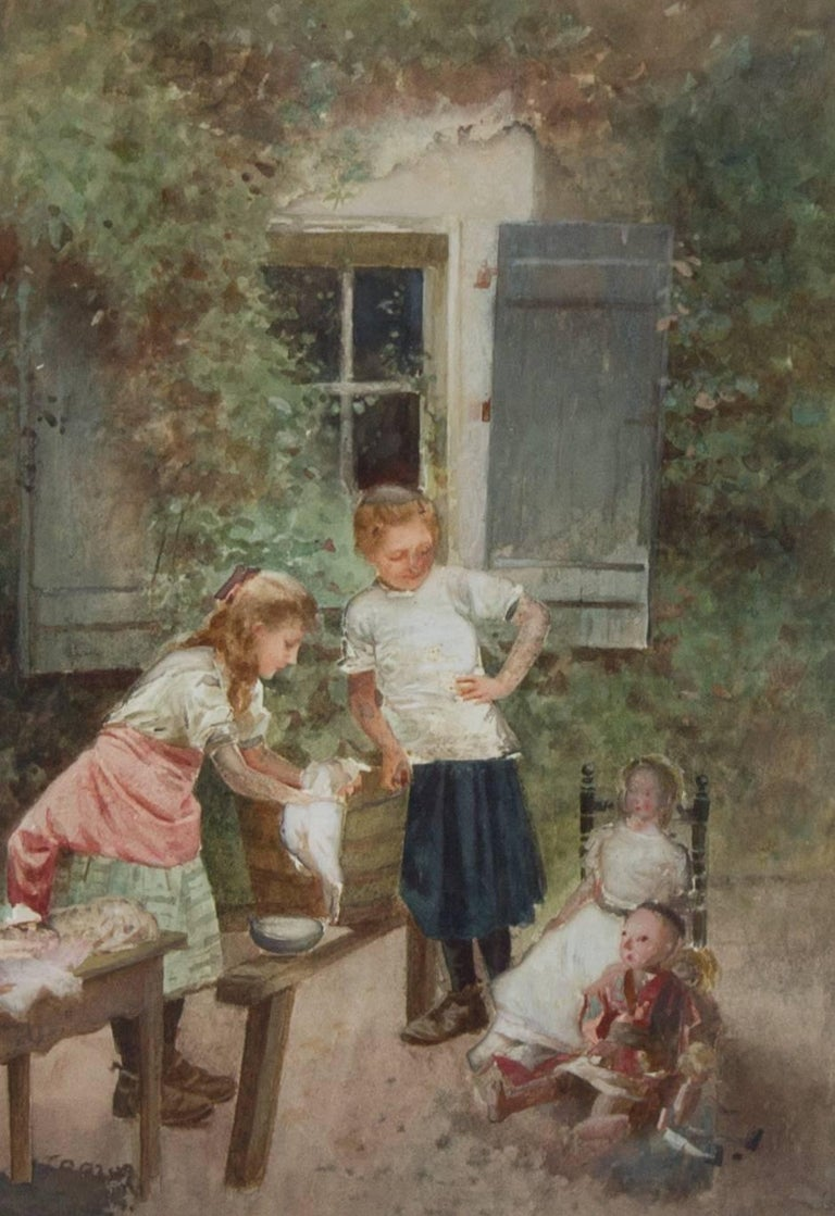 Continental School 19th Century Framed Watercolour - Children with Their Dolls - Painting by Unknown