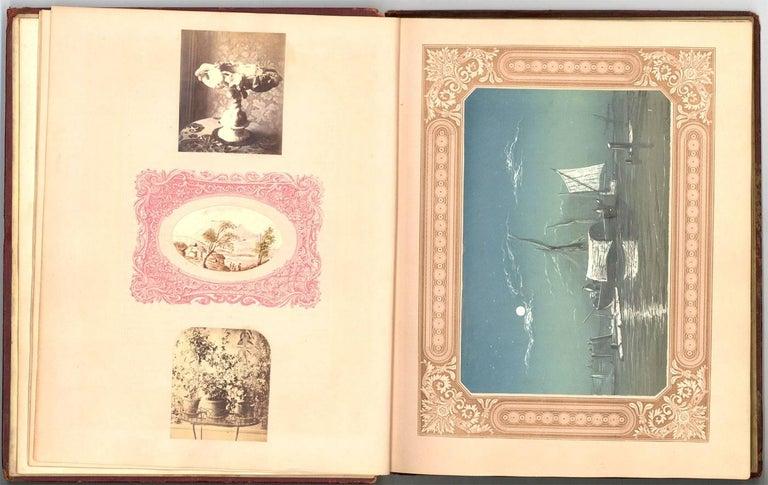 An interesting 19th century album containing some very fine graphite drawings and watercolours as well as various prints. Please message for further images. With an embossed leather cover. There are about 25 graphite studies and a handful of