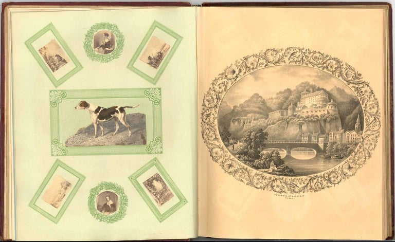 Embossed Leather 19th Century Sketchbook with Graphite Drawings and Watercolours For Sale 1