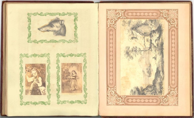 Embossed Leather 19th Century Sketchbook with Graphite Drawings and Watercolours For Sale 3