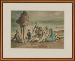 Harold Hope Read (1881-1959) - Framed Watercolour, Group of Bathers