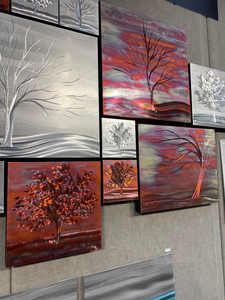 Multi Panel Metallic Copper Landscape Trees Wall Art Botanical Carving Sculpture For Sale 3