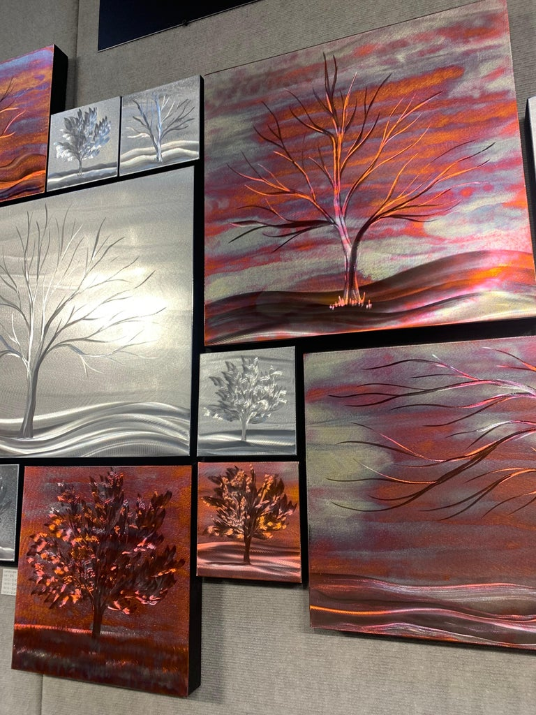 Multi Panel Metallic Copper Landscape Trees Wall Art Botanical Carving Sculpture For Sale 2