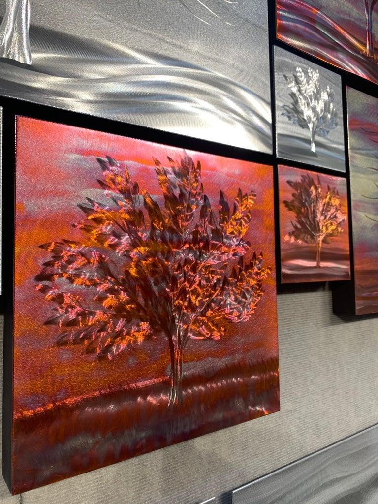 Multi Panel Metallic Copper Landscape Trees Wall Art Botanical Carving Sculpture For Sale 4