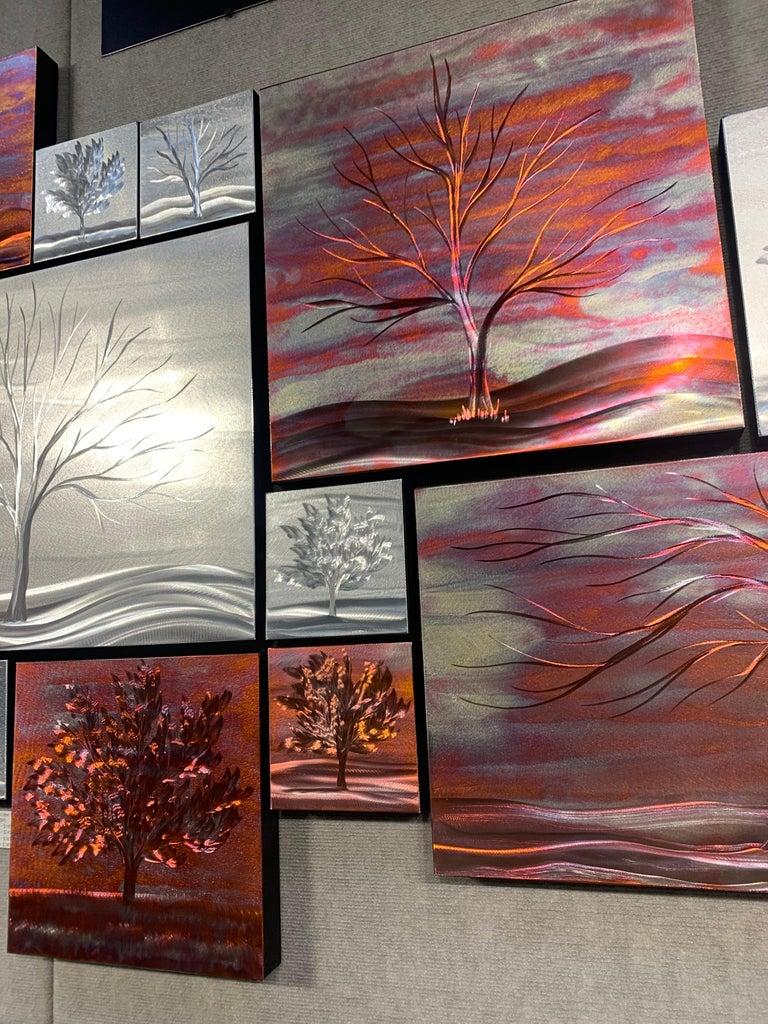 Multi Panel Metallic Copper Landscape Trees Wall Art Botanical Carving Sculpture For Sale 5