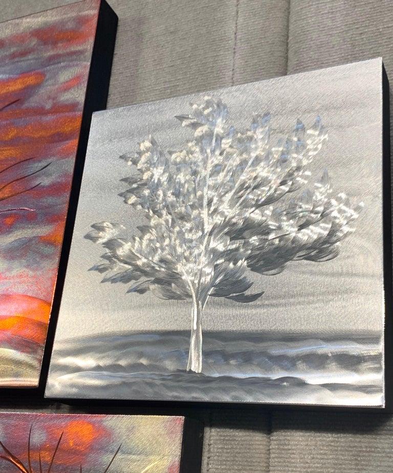 Multi Panel Metallic Copper Landscape Trees Wall Art Botanical Carving Sculpture For Sale 6
