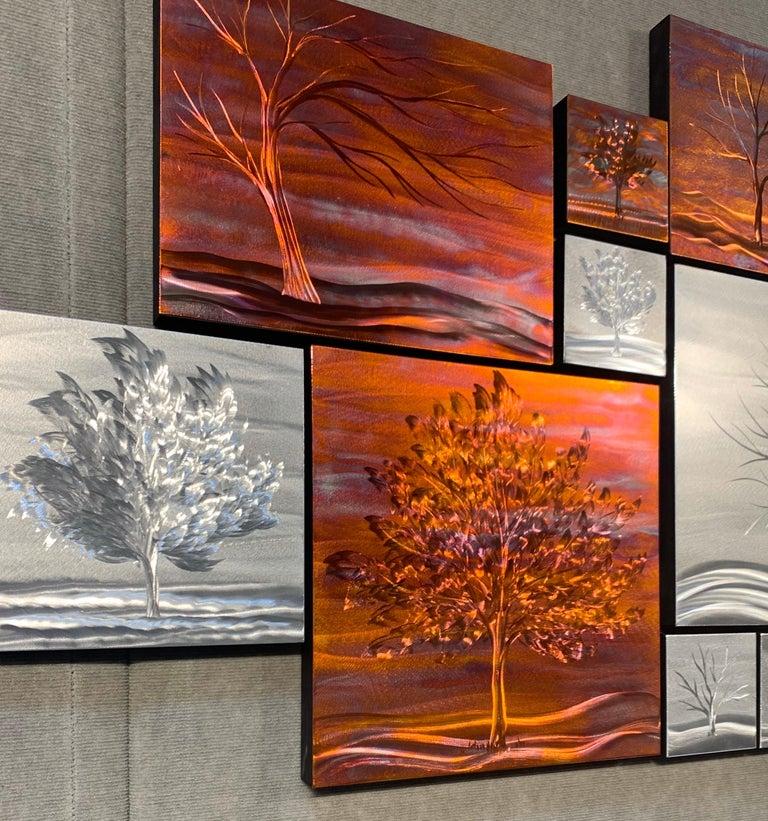 Multi Panel Metallic Copper Landscape Trees Wall Art Botanical Carving Sculpture For Sale 7