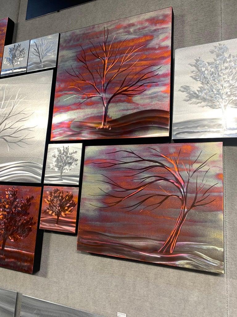 Multi Panel Metallic Copper Landscape Trees Wall Art Botanical Carving Sculpture For Sale 8