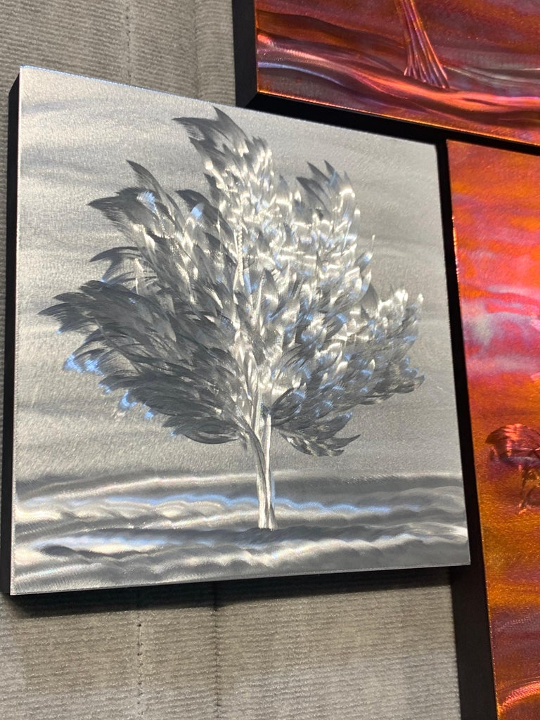 Multi Panel Metallic Copper Landscape Trees Wall Art Botanical Carving Sculpture For Sale 9