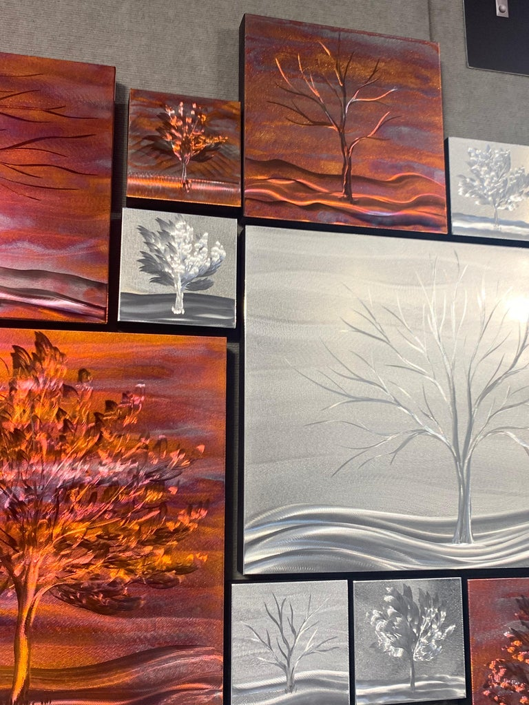 Copper Landscape Winter Tree Metal Wall Art Sculpture Modern Contemporary Decor For Sale 1