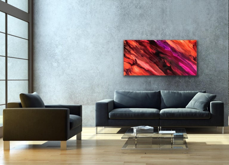 This contemporary abstract painting include warm tones of red, orange, fuchsia, and purple. Printed on a lightweight metal composite, your artwork arrives ready to hang. The automotive high-gloss clear coat offers both UV protection and high-end