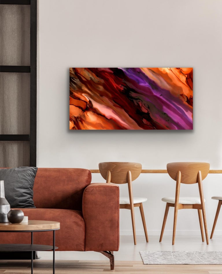 Large Modern Contemporary Abstract Giclee on Metal Wall Art Sculpture Decor  - Red Abstract Print by Sebastian Reiter