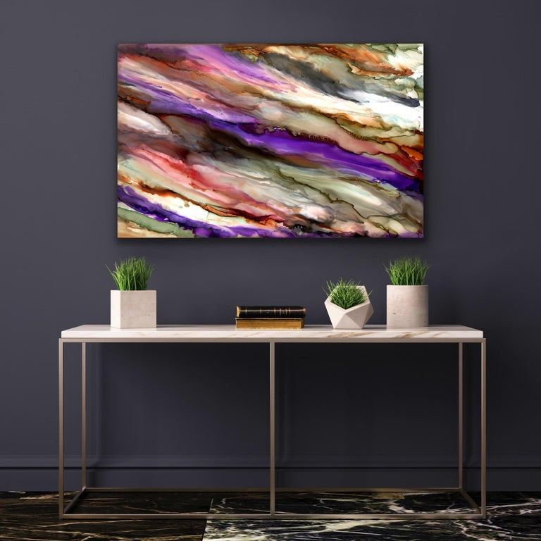 Modern Contemporary Industrial Abstract Giclee on Metal Art by Sebastian For Sale 1