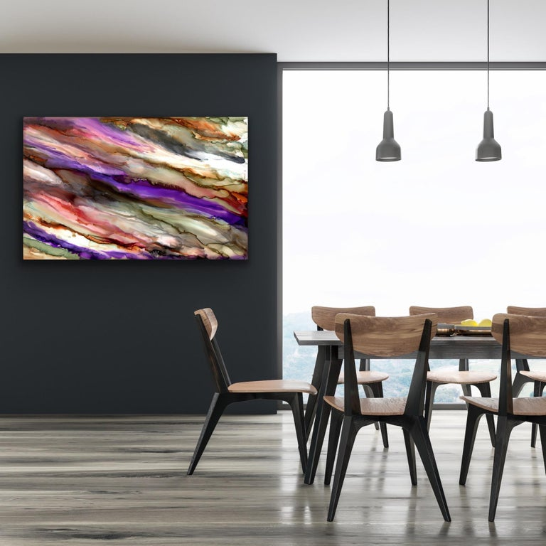 This contemporary abstract painting include various shades of gray, purple, red, and orange. Printed on a lightweight metal composite, your artwork arrives ready to hang. The automotive high-gloss clear coat offers both UV protection and high-end