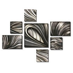 Nicholas Yust Large Contemporary Modern Industrial Metal Hanging Wall Decor Set