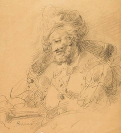 Sketch for a portrait of a man holding a book