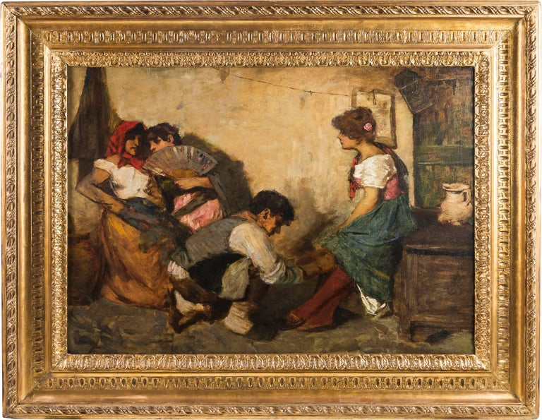 Cesare Laurenti - The Courtship - 19th Century - Oil on Canvas - Signed