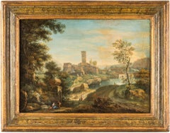 "Paolo Anesi - ""Couple of natural landscapes with figures"" - 18th Century"