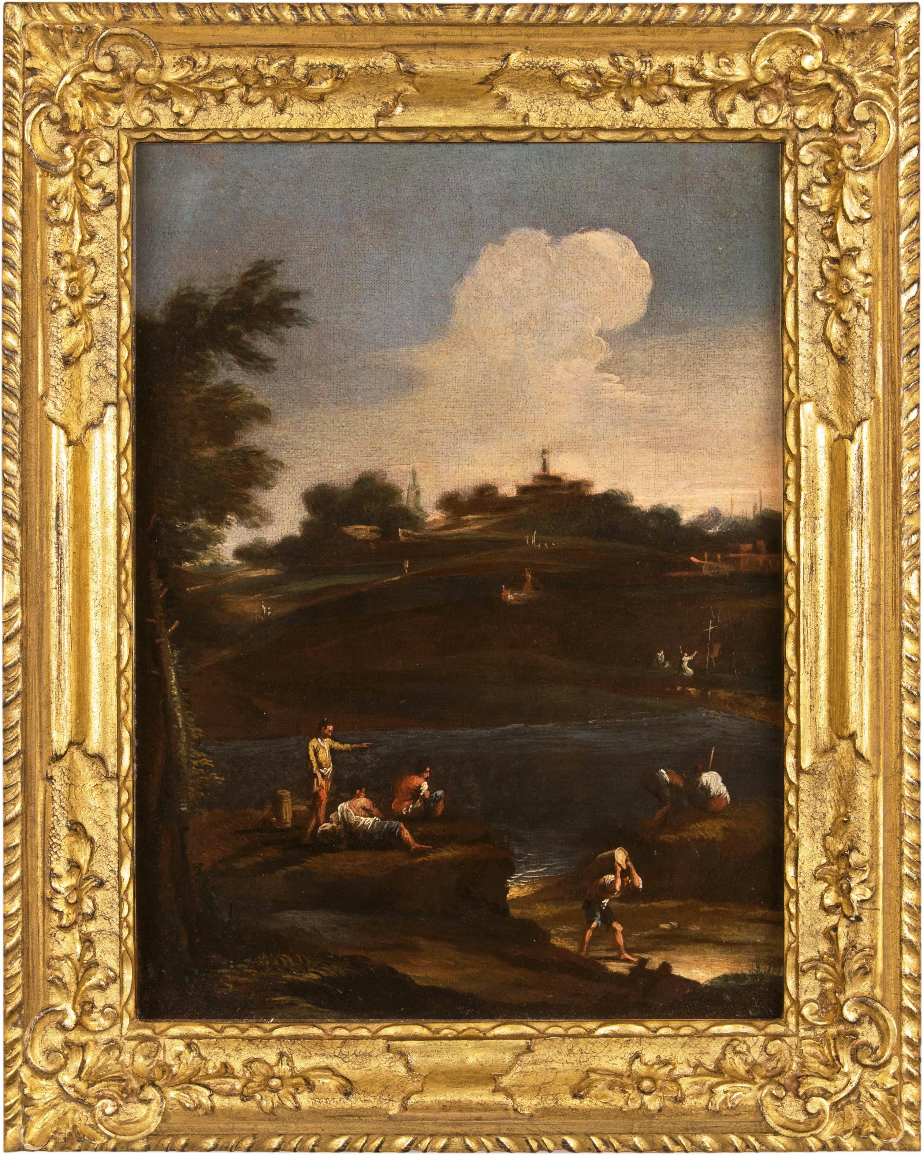 18th century Venetian figure painting - Landscape - Oil on canvas venice Italy