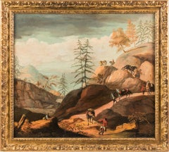 """Antonio Diziani (Venice 1737 - 1797) attributed - """"Rocky landscape with knights"""""""