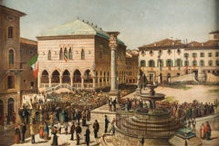 """Fausto Antonioli - """"View of Piazza Libertà in Udine with arrival of the King"""""""