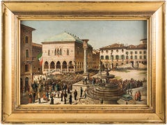 "Fausto Antonioli - ""View of Piazza Libertà in Udine with arrival of the King"""