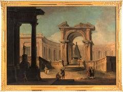 """Gaspare Diziani, """"Architectural capriccio with characters"""", Venice, 18th century"""