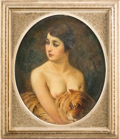 "Emilio Magistretti - ""Portrait of a girl with a tiger"" - 19th Century, Signed"