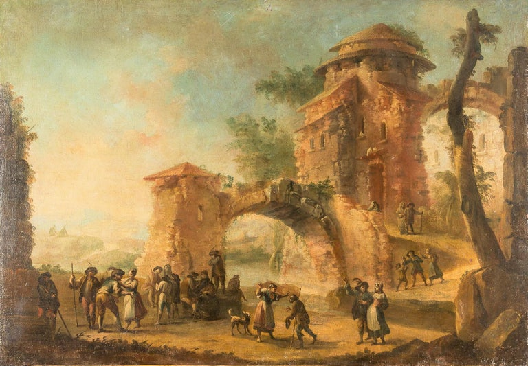 """18th Century Oil on Canvas """"Architectures Landscape and dancing scene"""" Painting"""