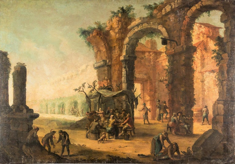 18th Century Oil on Canvas Architecture Landscape with Grotesque Feast Painting