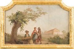 """Andrea Urbani - """"Conversation in a rural landscape"""" - 18th c - Tempera on canvas"""