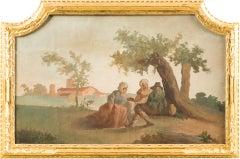 """Andrea Urbani - """"Peasants resting in a landscape"""" - 18th c - Tempera on canvas"""