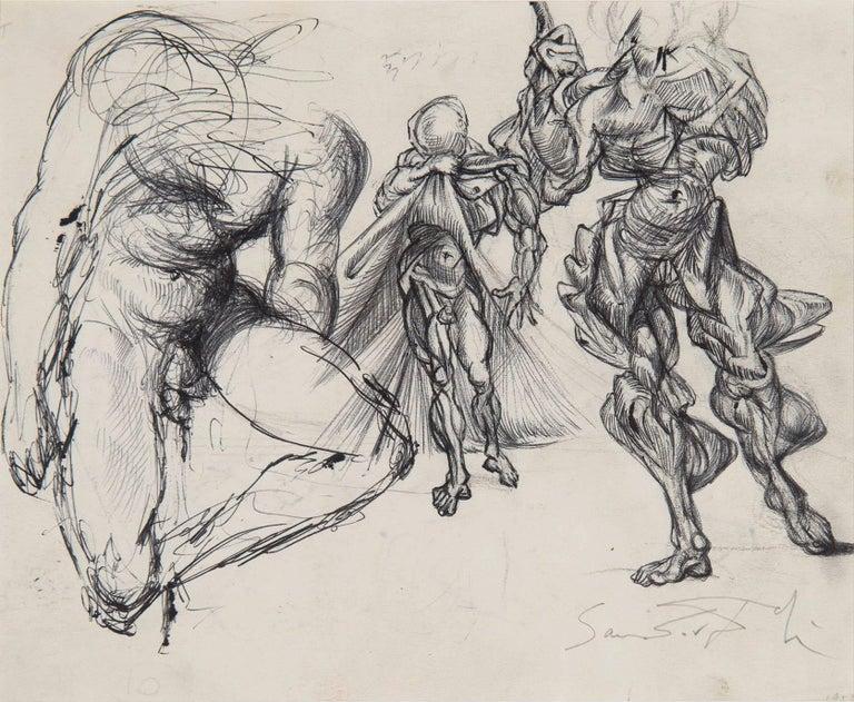 Étude de figures masculines, trois érotiques et étude pour le tableau : Vitesse