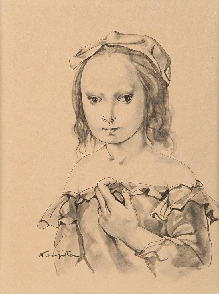 Portrait de jeune fille - Art by Léonard Tsugouharu Foujita