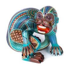 "Wood carving Alebrije Sculpture Mexican Folk Art ""Mono Contento"""