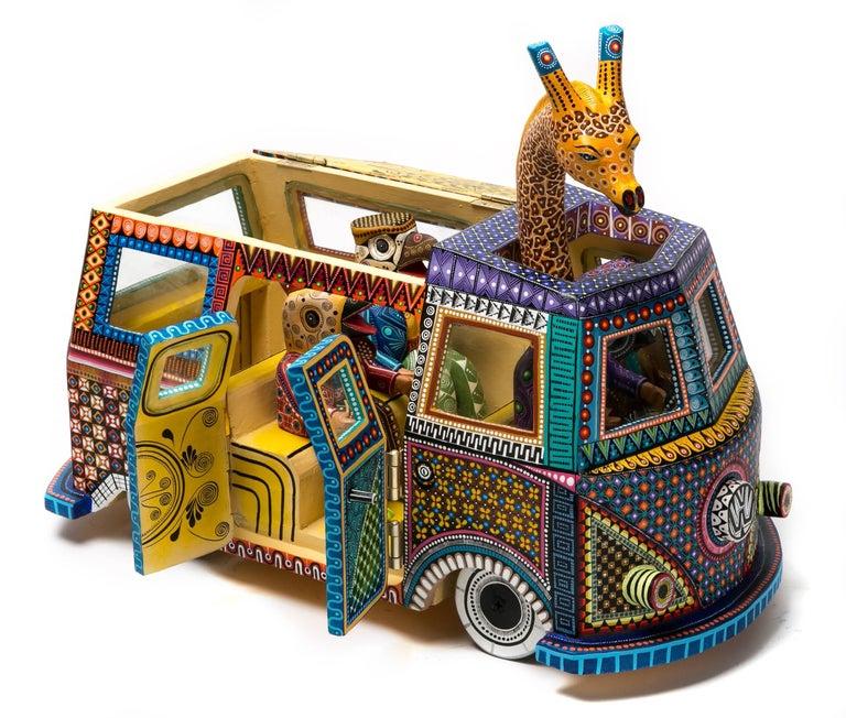 "Wood carving Alebrije Sculpture Mexican Folk Art ""Combi con Animales"""