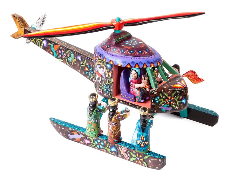 16'' Wood carving Nativity Helicoptero Mexican Folk Art