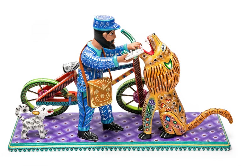 20'' Cartero / Wood carving Mexican Folk Art Sculpture