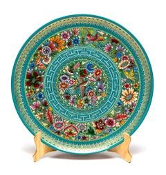 Plato Azul-Verde Perfilado en Oro / Woodcarving Lacquer Mexican Folk Art
