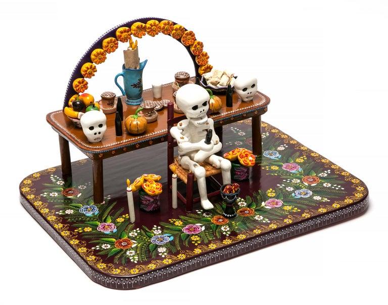 16'' Ofrenda Dedicada a los muertos / Wood carving Lacquer Mexican Folk Art
