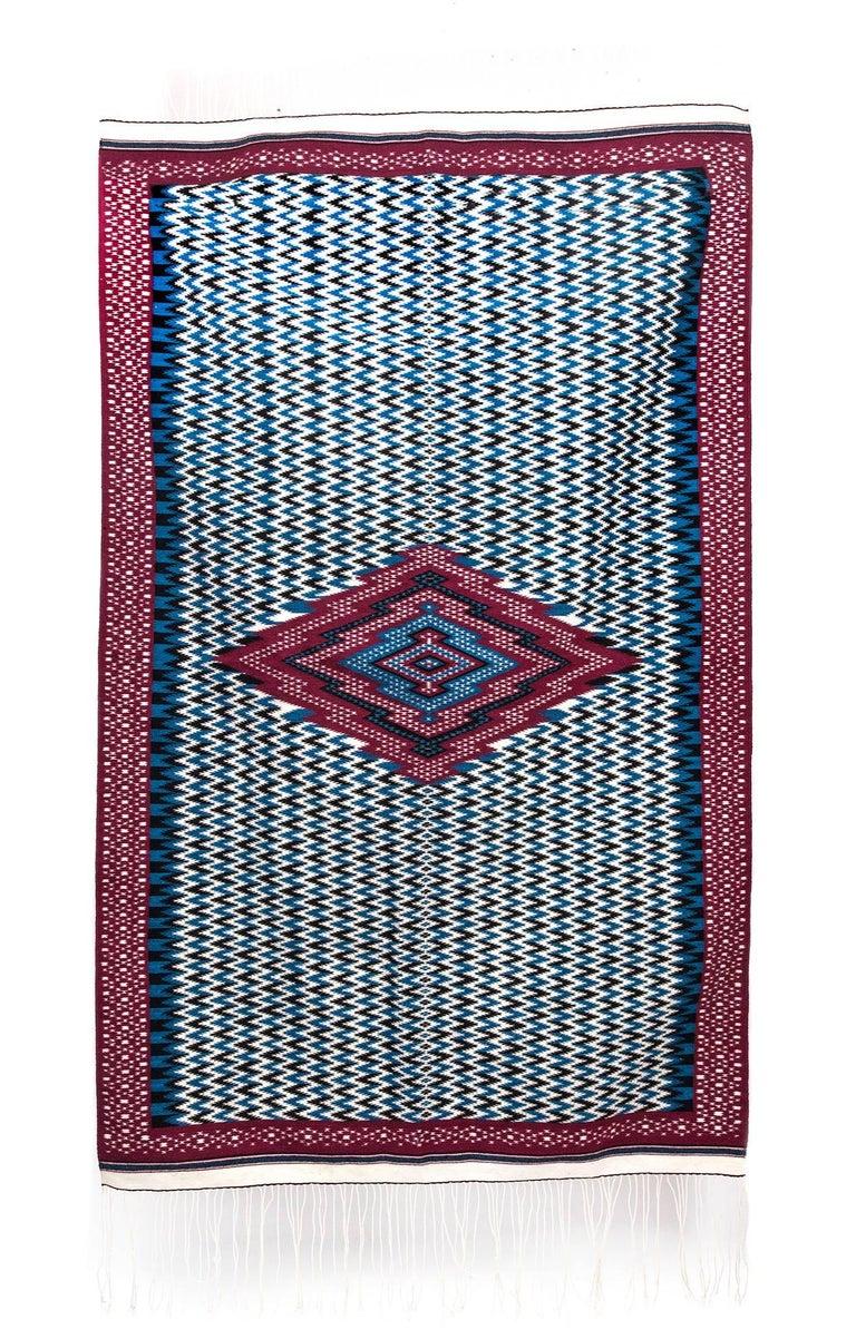 Sarape de Saltillo Azul / Textiles Mexican Folk Art Serape
