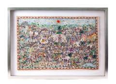 Fiesta en Xalitla / Amate Paper Mexican Folk Art Painting Frame