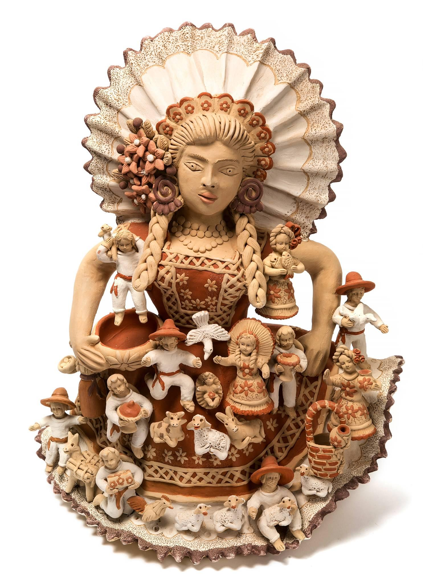 Tehuana con Nacimiento / Ceramics Mexican Folk Art Clay Nativity