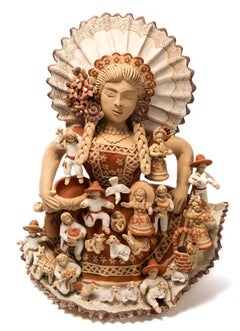 Tehuana con Nacimiento / Ceramics Mexican Folk Art Clay Nativity