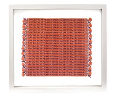 Tapete Miniatura Naranja y Rojo / Textiles Mexican Folk Art Miniature Rug Frame