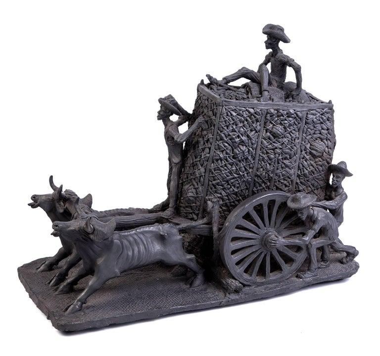 Fidel Martinez Martinez Figurative Sculpture - 24'' La Pizca Mexican Folk Art