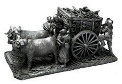 Los Leñadores / Ceramics Black Clay Mexican Folk Art